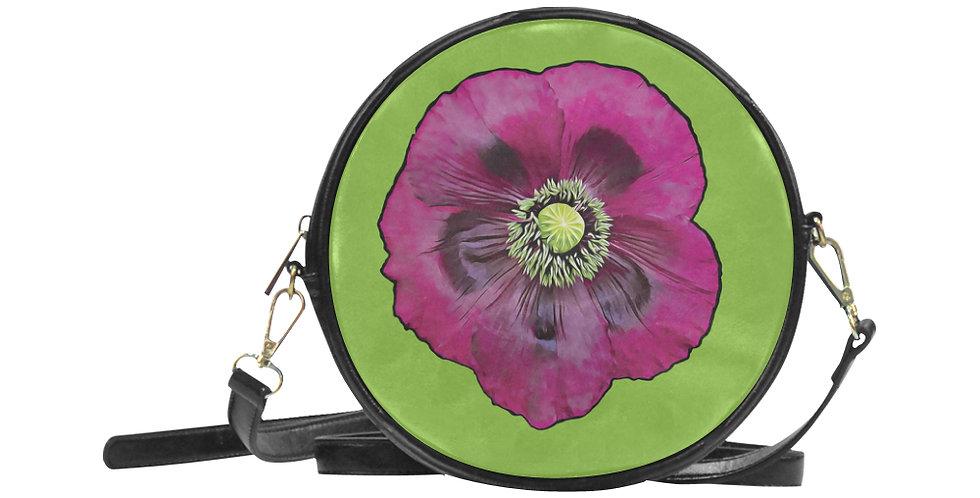Purple Poppy - Round Messenger Bag