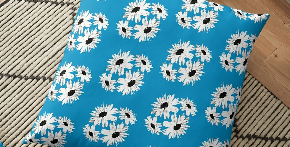 Bunch of Daisies Blue (small print) - Cushion Cover