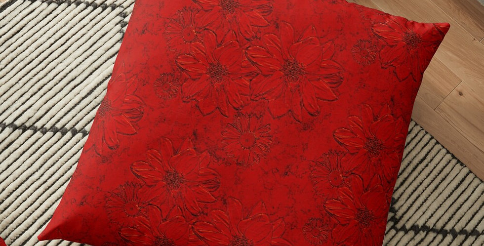 Embossed Floral Red - Cushion Cover