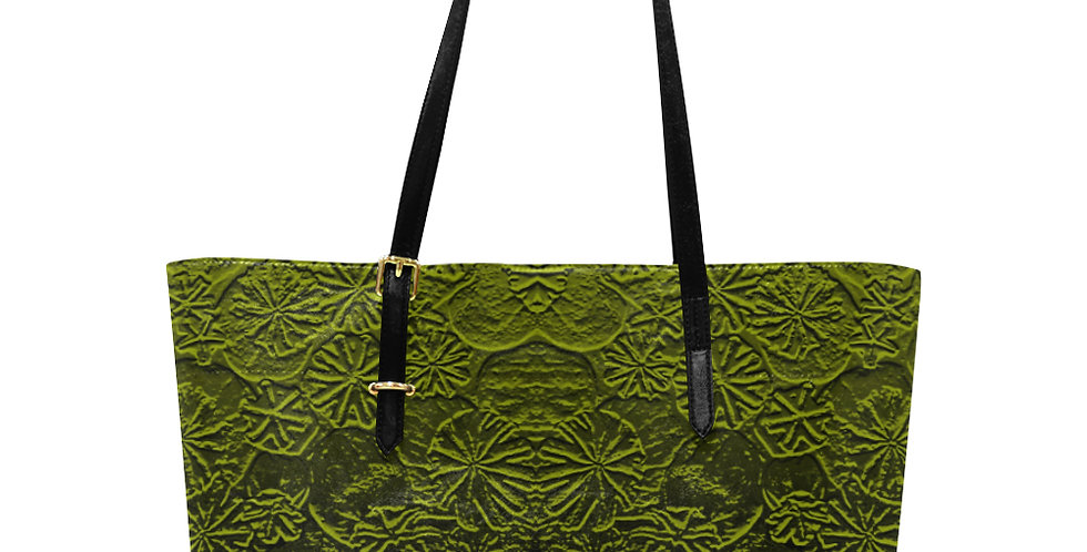 Embossed Poppies Olive Green - Large Tote Bag