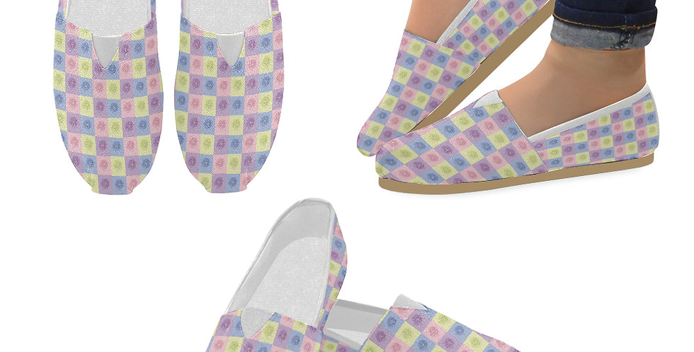 Pastel Poppies - Slip On Canvas Shoes