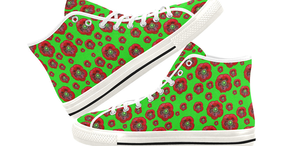 Poppies Green/Red - Women's High Top Canvas Sneakers