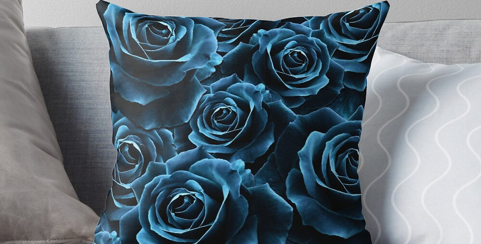 Velvet Roses Blue - Cushion Cover