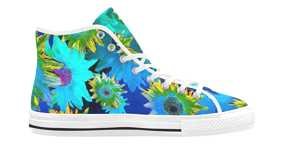 Strawflower Sizzle - Blue/Yellow - Women's High Top Canvas Sneakers