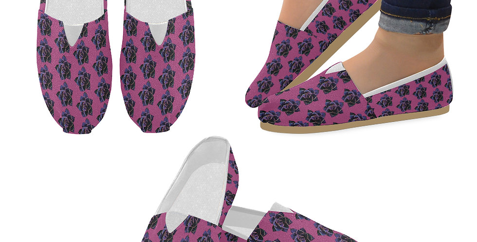 Pink Succulent (small print) - Slip On Canvas Shoes
