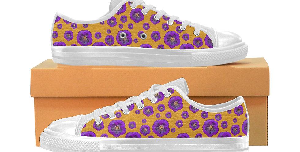 Poppies Orange/Purple - Women's Canvas Sneakers