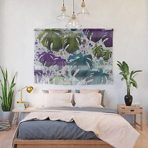 monstera-teal-purple-green-wall-hangings