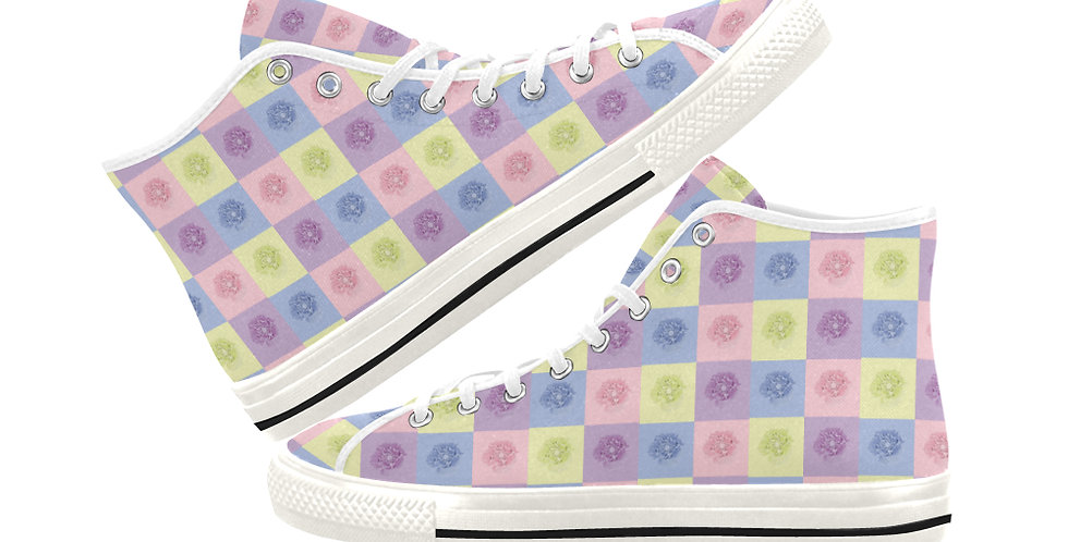 Pastel Poppies - Women's High Top Canvas Sneakers