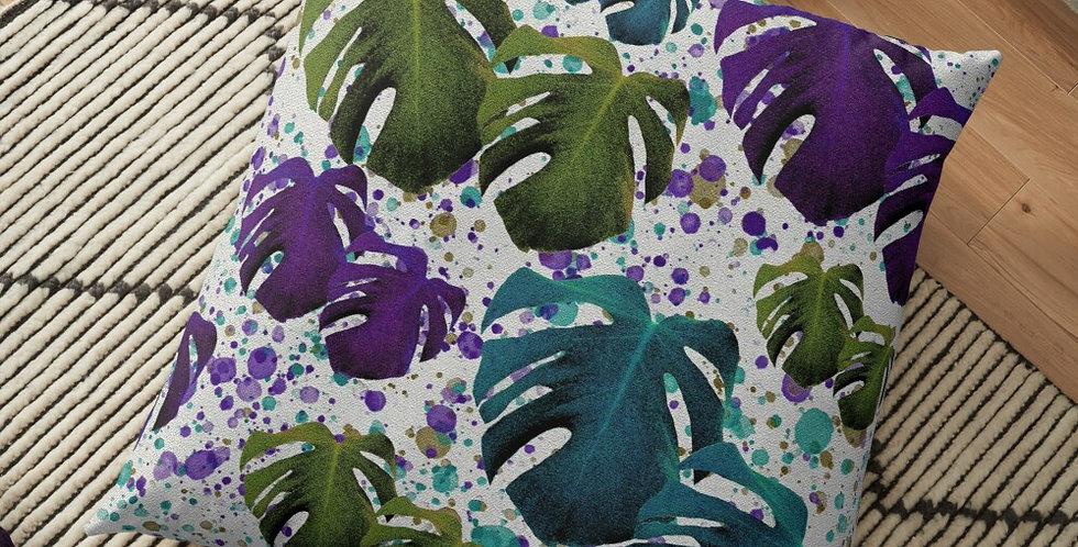 Monstera Teal / Purple / Green - Cushion Cover