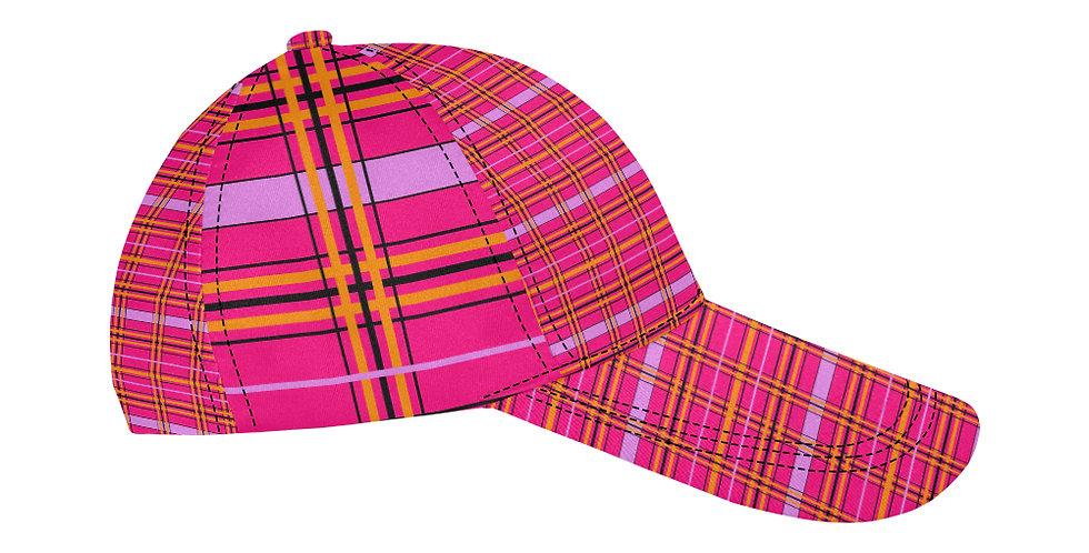 Tartan & Poppies - Orange & Pink - Tartan - Baseball Cap