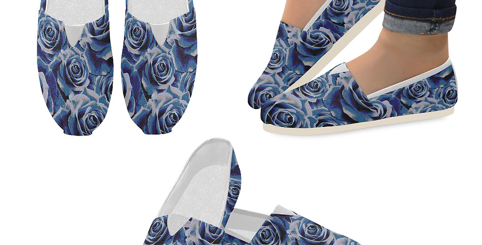 Gypsy Rose Persian Blue - Slip On Canvas Shoes