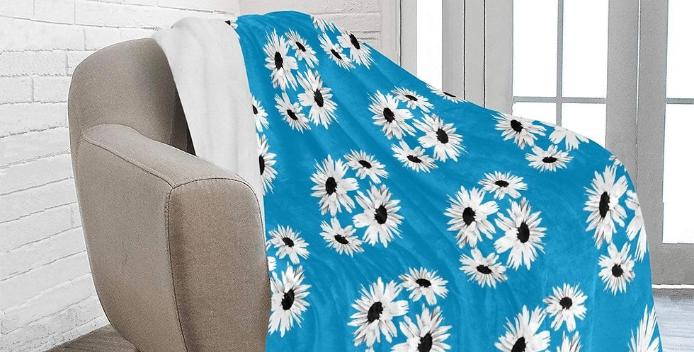 Daisy Love Blue (small print) - Blanket