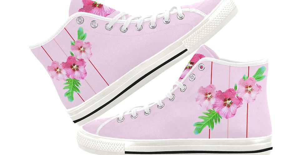 Xanadu (pink) - Women's High Top Canvas Sneakers