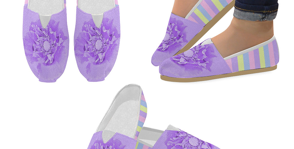 Pastel Poppies - Mauve Poppy and Pastel Stripes - Slip On Canvas Shoes
