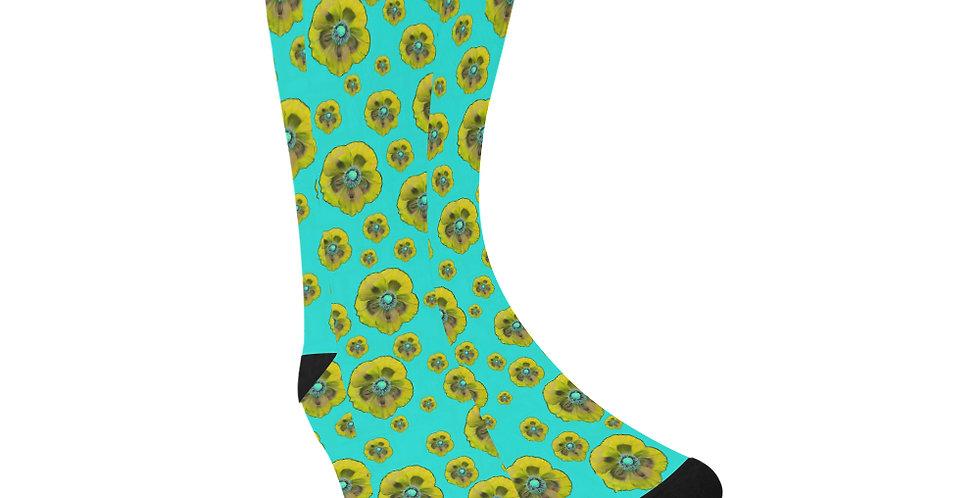 Poppies Aqua/Yellow- Unisex Socks (Made in Australia)