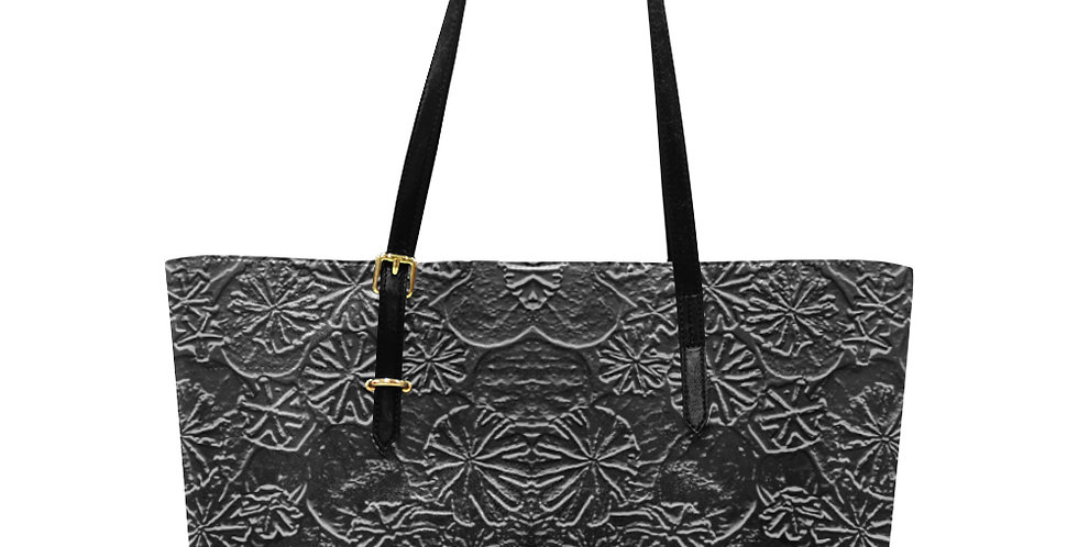 Embossed Poppies  Silver - Large Tote Bag