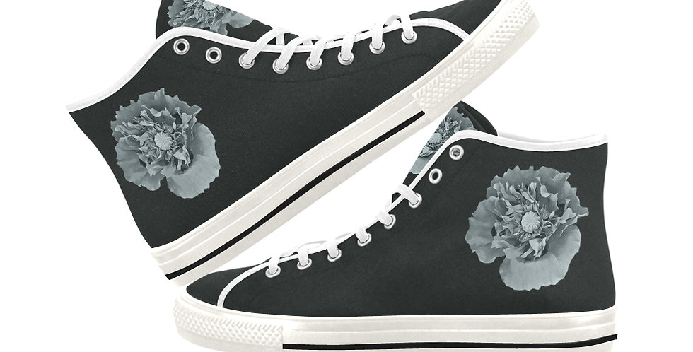 Botanical Poppy -  Women's High Top Canvas Sneakers