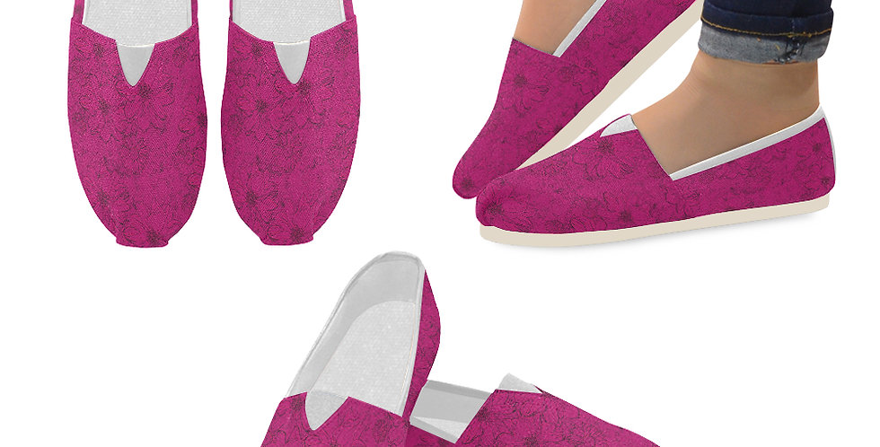 Embossed Floral Deep Pink - Slip On Canvas Shoes