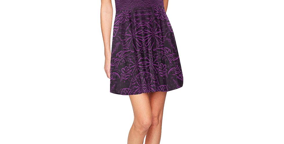 Embossed Poppies Purple - Skater Dress