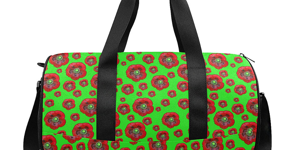 Flower Power Green/Red - Gym / Workout / Camping / Travel Duffel Bag
