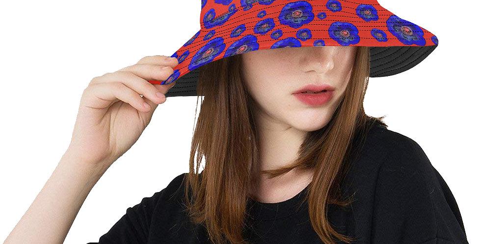 Flower Power - Red / Blue - Bucket Hat