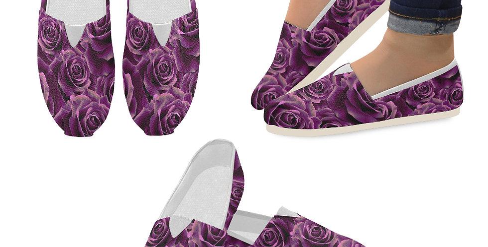 Velvet Roses Pink - Slip On Canvas Shoes