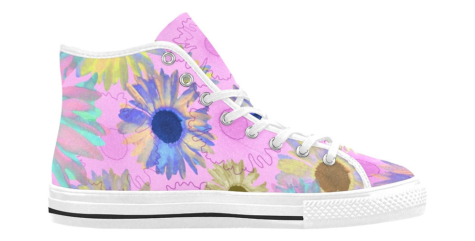 Wildflower Soft Pink - Women's High Top Canvas Sneakers