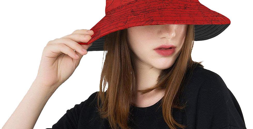 Embossed Floral Red - Bucket Hat