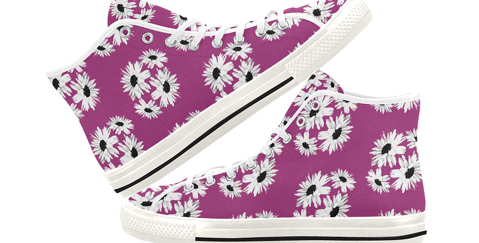 Bunch of Daisies Pink - Women's High Top Canvas Sneakers