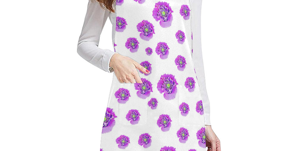 Pink Poppy on White Background (small print) Apron - Adjustable