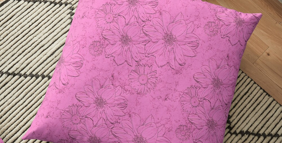 Embossed Floral Soft Pink - Cushion Cover