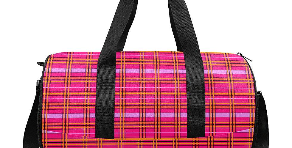 Tartan & Poppies - Orange & Pink - Tartan - Workout/Camping/Travel Duffle Bag
