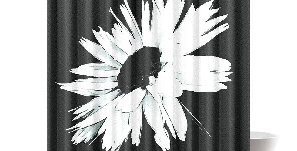 Daisy Love Black and White - Shower Curtain