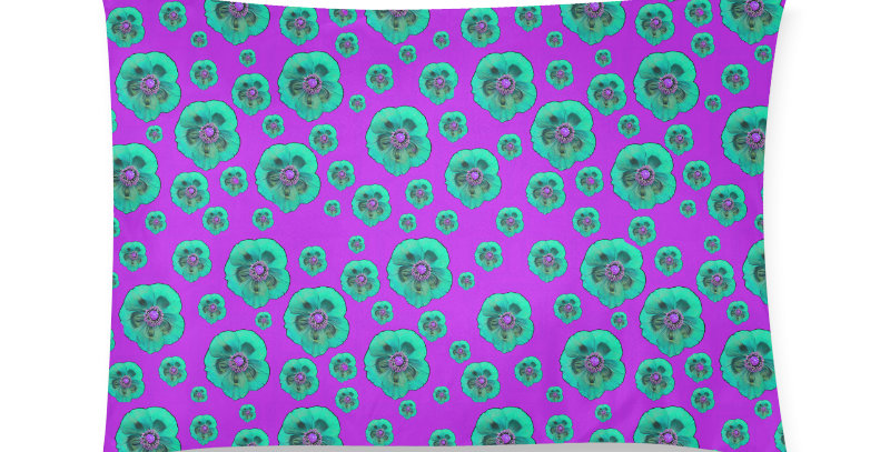 Flower Power hot pink/aqua - Cushion Cover