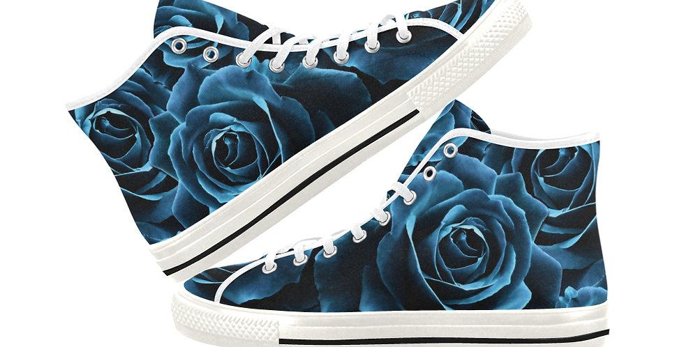 Velvet Roses Blue - Women's High Top Canvas Sneakers