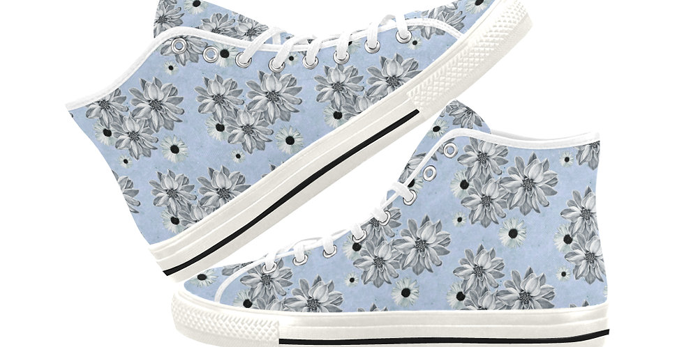 Floral Blue - Women's High Top Canvas Sneakers
