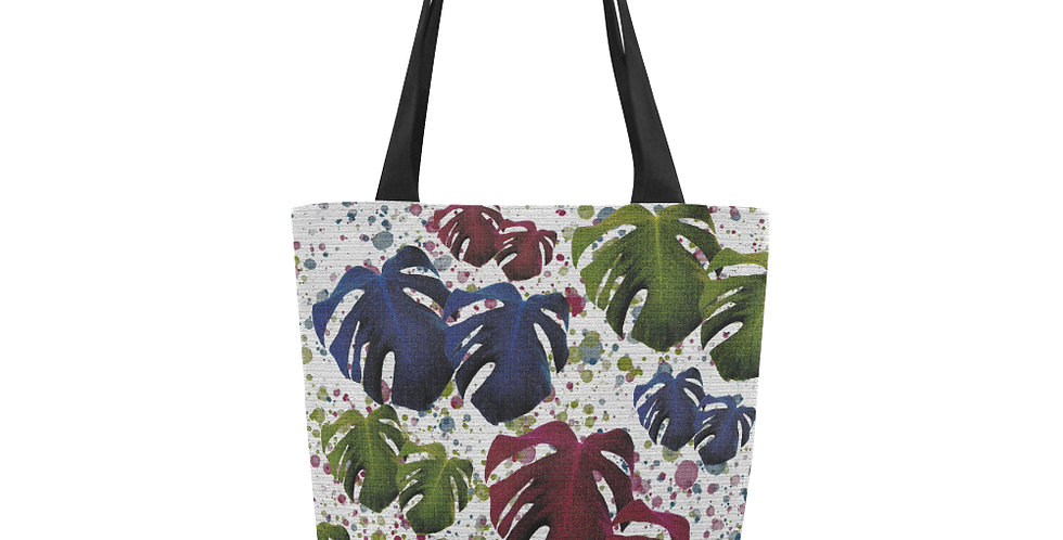 Monstera Leaves Red / Blue - Tote Bag