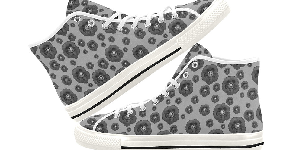 Poppies Grey - Women's High Top Canvas Sneakers