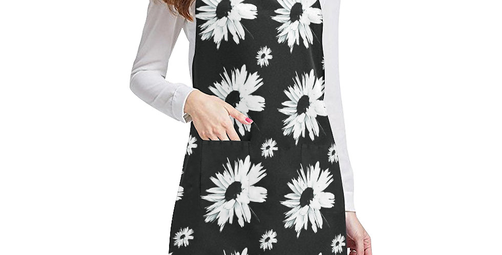 Bunch of Daisies Black & White Apron - Adjustable