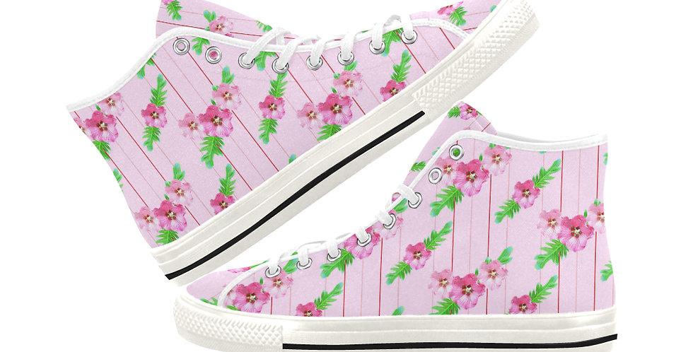 Xanadu (pink small print) - Women's High Top Canvas Sneakers
