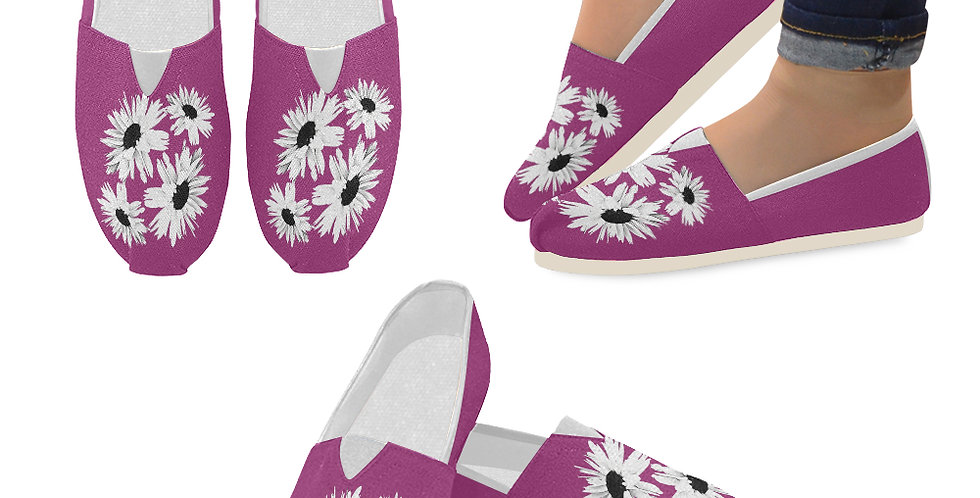 Bunch of Daisies Pink - Slip On Canvas Shoes