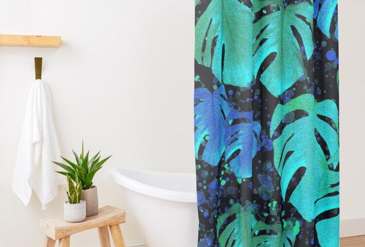 Monstera Leaves Midnight- Shower Curtain