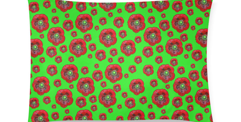 Flower Power green/red - Cushion Cover