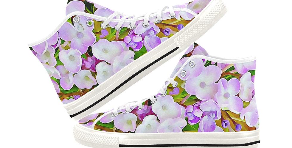 Hydrangea Confetti -  Women's High Top Canvas Sneakers