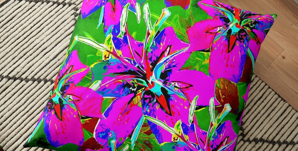 Luscious Liliums - Pink / Green - Cushion Cover
