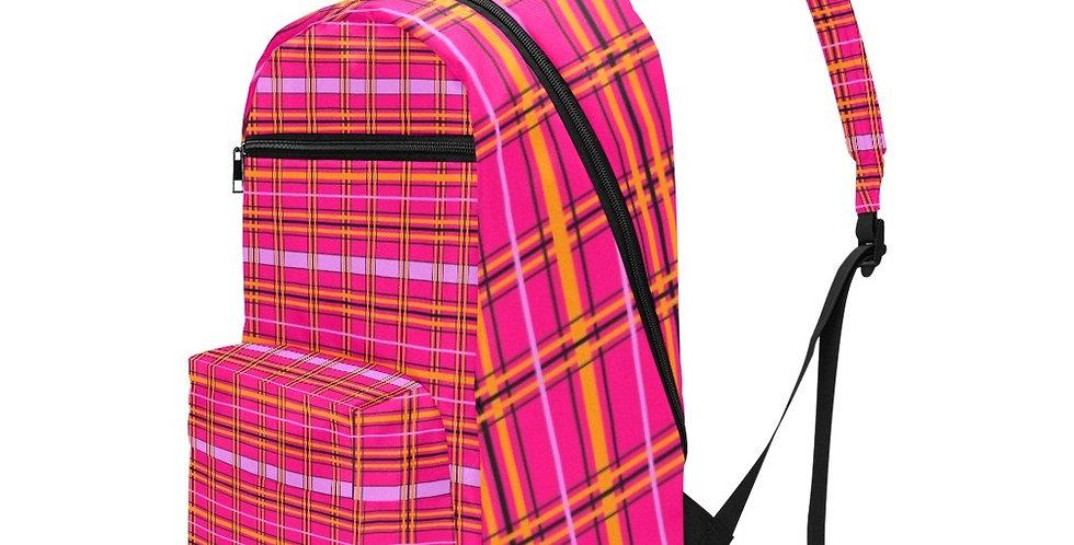 Tartan & Poppies Orange Pink Tartan - Travel Backpack (Large Capacity