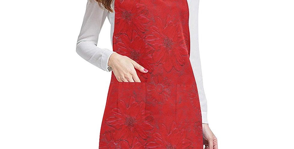 Red Embossed Floral Apron - Adjustable