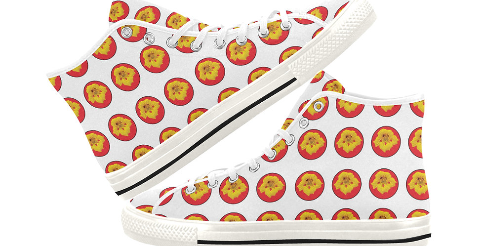 Ladybug Nasturtium Dot - Women's High Top Canvas Sneakers