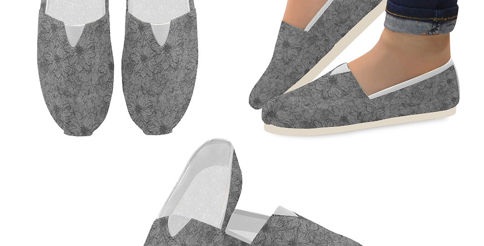 Embossed Floral Grey - Slip On Canvas Shoes