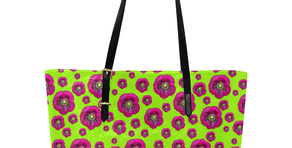 Flower Power Lime Green & Purple - Large Tote Bag
